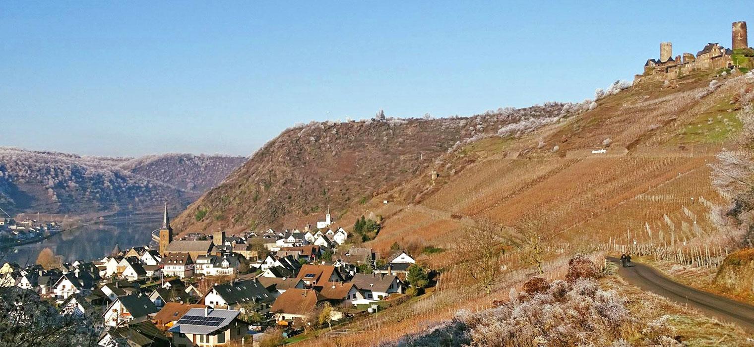Panorama-Alken im Winter, Bild: Moselhotel Burg-Café Alken